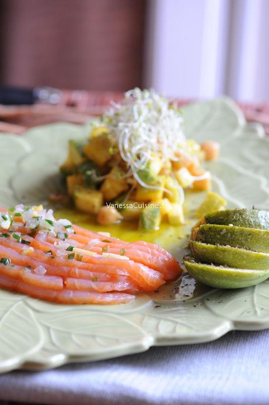 saumon marin au citron salade de courgettes crues et cuites aux pois chiches et au curcuma. Black Bedroom Furniture Sets. Home Design Ideas