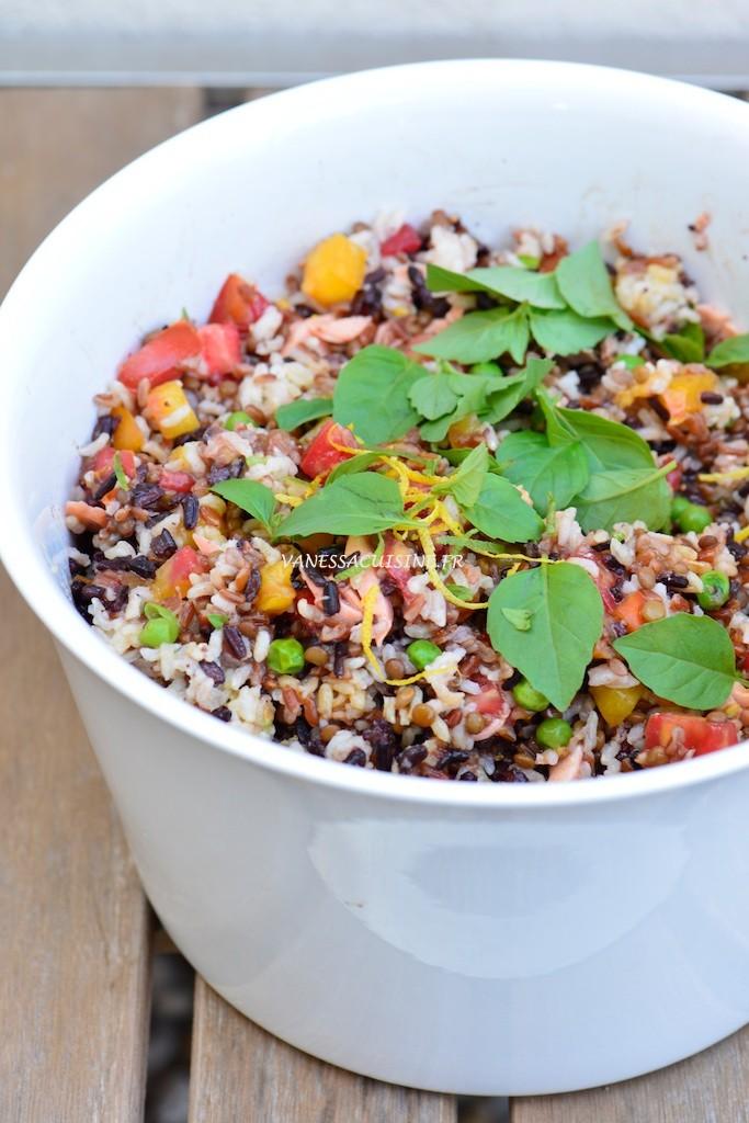 Salade aux trois riz de Camargue, saumon bio et lentillons de Champagne - Three rices salad, with salmon and french lentils - Vanessa Romano photographe et styliste culinaire