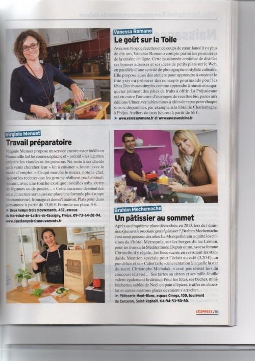 Article dans l 39 express sur le travail de vanessa romano for Article culinaire